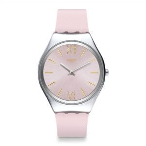 Swatch Skin Lavanda Quartz Pink Dial Silicone Strap Ladies Watch SYXS124 RRP £124