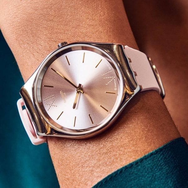 Swatch Skin Lavanda Quartz Pink Dial Silicone Strap Ladies Watch SYXS124 RRP £124