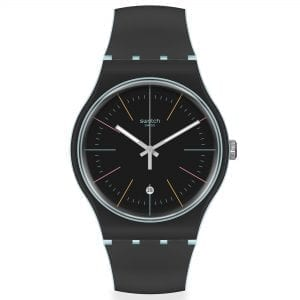 Swatch Black Layered Quartz Black Dial Silicone Strap Men's Watch SUOS402 RRP £62
