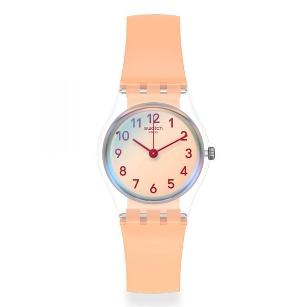 Swatch Casual Pink Quartz Pink Dial Silicone Strap Ladies Watch LK395 RRP £50