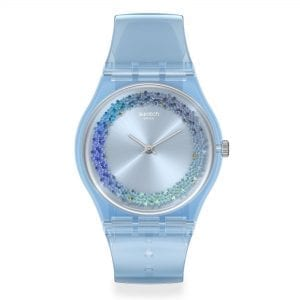 Swatch Azzura Quartz Blue Dial Silicone Strap Ladies Watch GL122 RRP £58