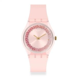 Swatch Kwartzy Quartz Pink Dial Silicone Strap Ladies Watch GP164 RRP £58