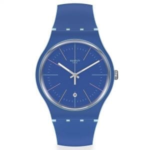 Swatch Blue Layered Quartz Blue Dial Silicone Strap Men's Watch SUOS403 RRP £62
