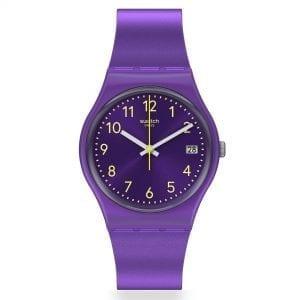 Swatch Purplazing Quartz Purple Dial Silicone Strap Ladies Watch GV402 RRP £54