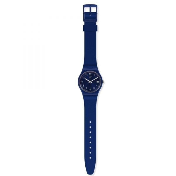 Swatch Silver In Blue Quartz Blue Dial Silicone Strap Men's Watch GN416 RRP £54