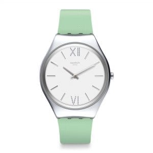 Swatch Skin Aloe Quartz White Dial Green Silicone Strap Ladies Watch SYXS125 RRP £124