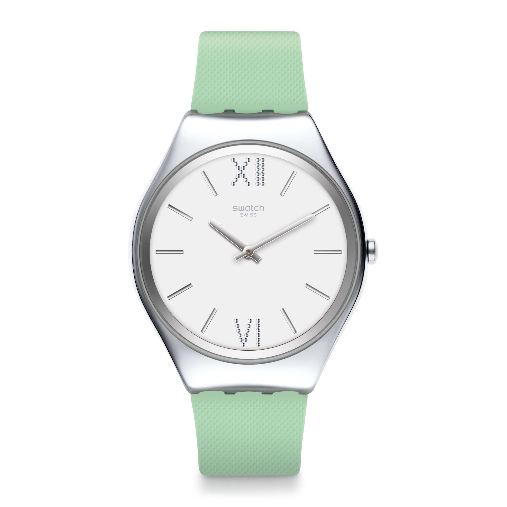 Swatch Skin Aloe Quartz White Dial Green Silicone Strap Ladies Watch SYXS125 RRP £124