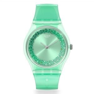 Swatch Amazo-Night Quartz Green Dial Silicone Strap Ladies Watch GG225 RRP £58