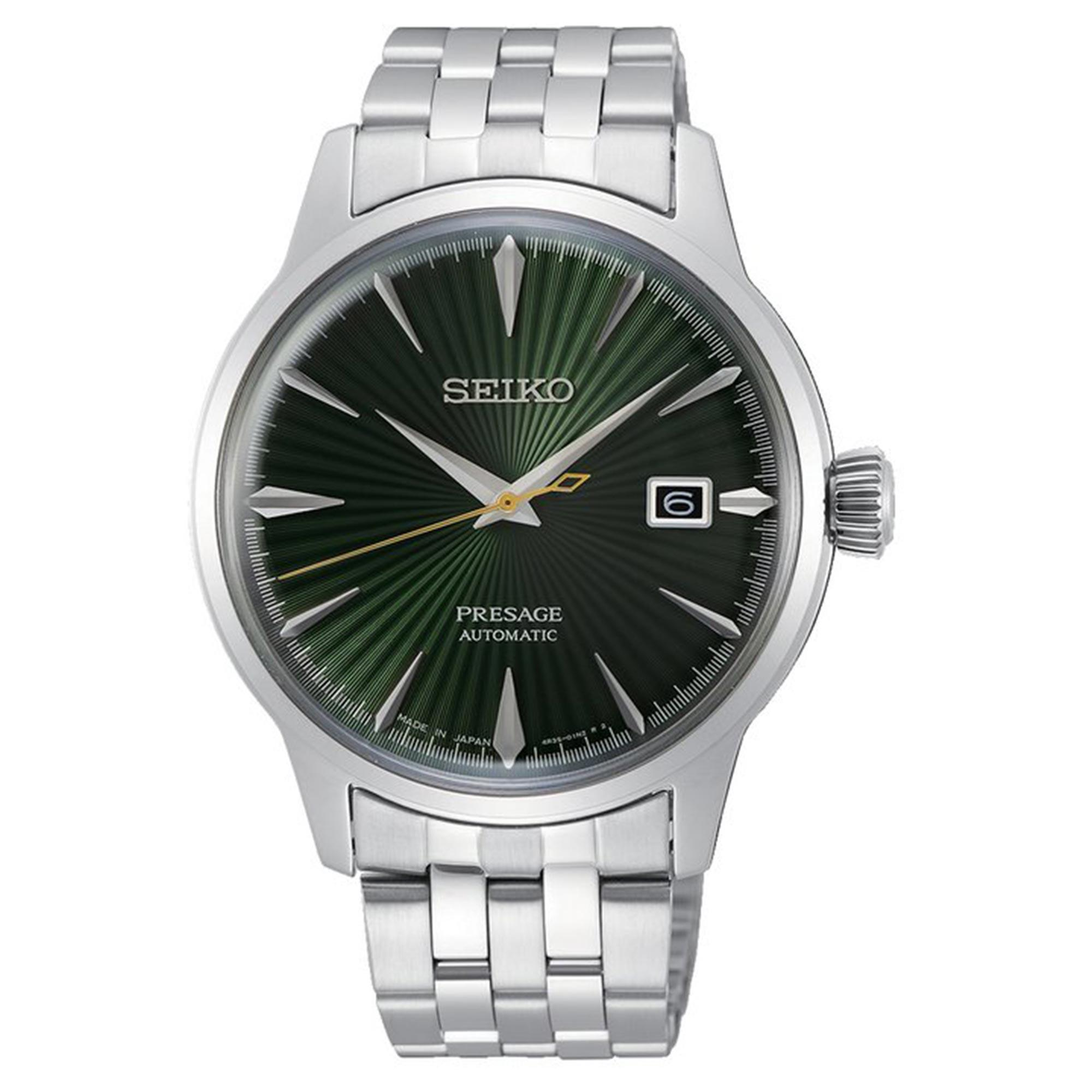 Seiko Presage Cocktail Time 'Mockingbird' Automatic Green Dial Silver Stainless Steel Men's Watch SRPE15J1 RRP £400