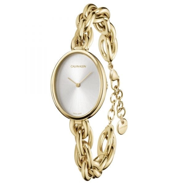 Calvin Klein Statement Quartz Silver Dial Gold PVD Stainless Steel Bracelet Ladies Watch K9Y23526 RRP £249
