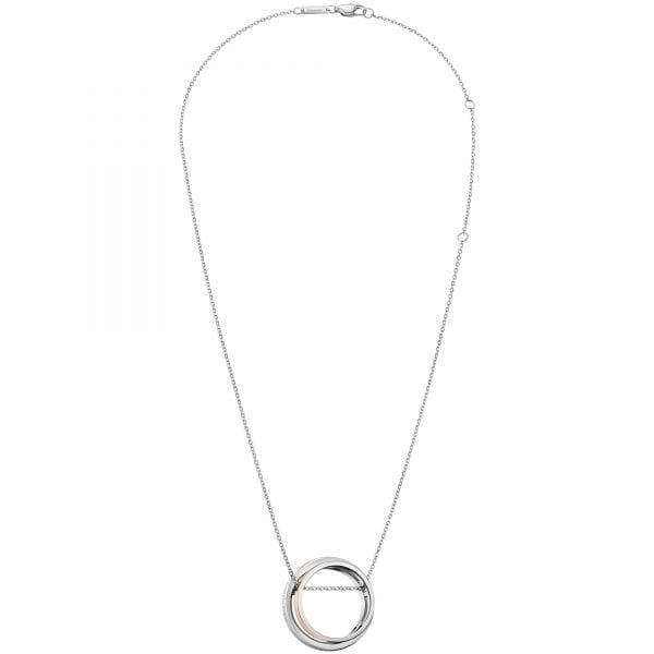 Calvin Klein Unite Silver Stainless Steel Rose Gold Pendant Ladies Necklace Jewellery KJ6APP200100 RRP £69