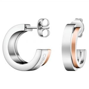 Calvin Klein Unite Rose Gold Silver Stainless Steel Ladies Earrings Jewellery KJ6APE200100 RRP £69