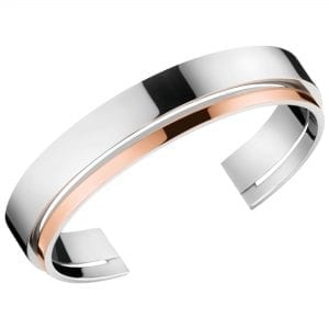 Calvin Klein Unite Rose Gold Silver Stainless Steel Ladies Bangle Jewellery KJ6APF20010M RRP £85