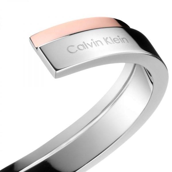 Calvin Klein Unite Rose Gold Silver Stainless Steel Ladies Bangle Jewellery KJ6APF20010M RRP £85
