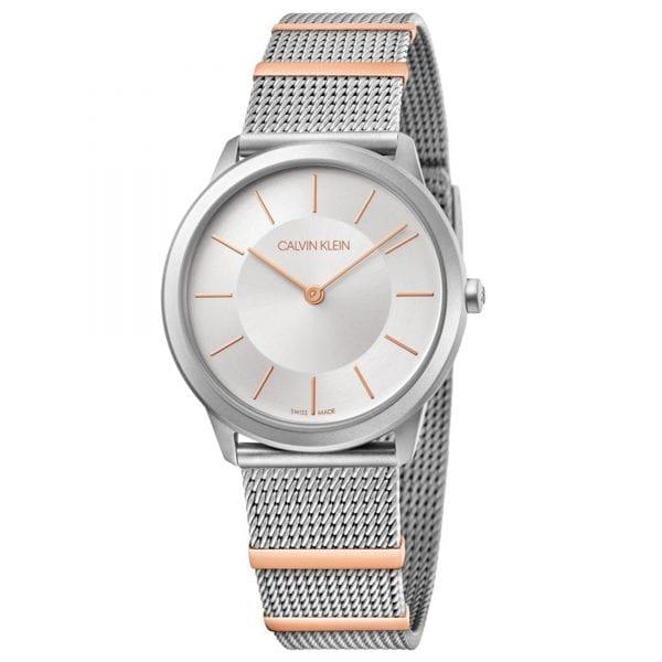 Calvin Klein Minimal Quartz Silver Dial Mesh Stainless Steel Bracelet Ladies Watch K3M521Y6 RRP £179