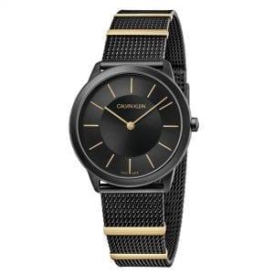 Calvin Klein Minimal Quartz Black Dial Mesh Stainless Steel Bracelet Watch K3M524Z1 RRP £229