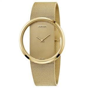 Calvin Klein Glam Quartz Gold Dial Mesh Stainless Steel Bracelet Ladies Watch K9423Y29 RRP £349