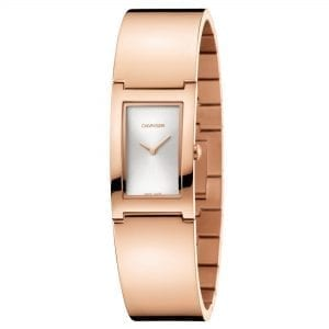 Calvin Klein Polished Quartz Silver Dial Rose Gold PVD Stainless Steel Bracelet Ladies Watch K9C2N616 RRP £269