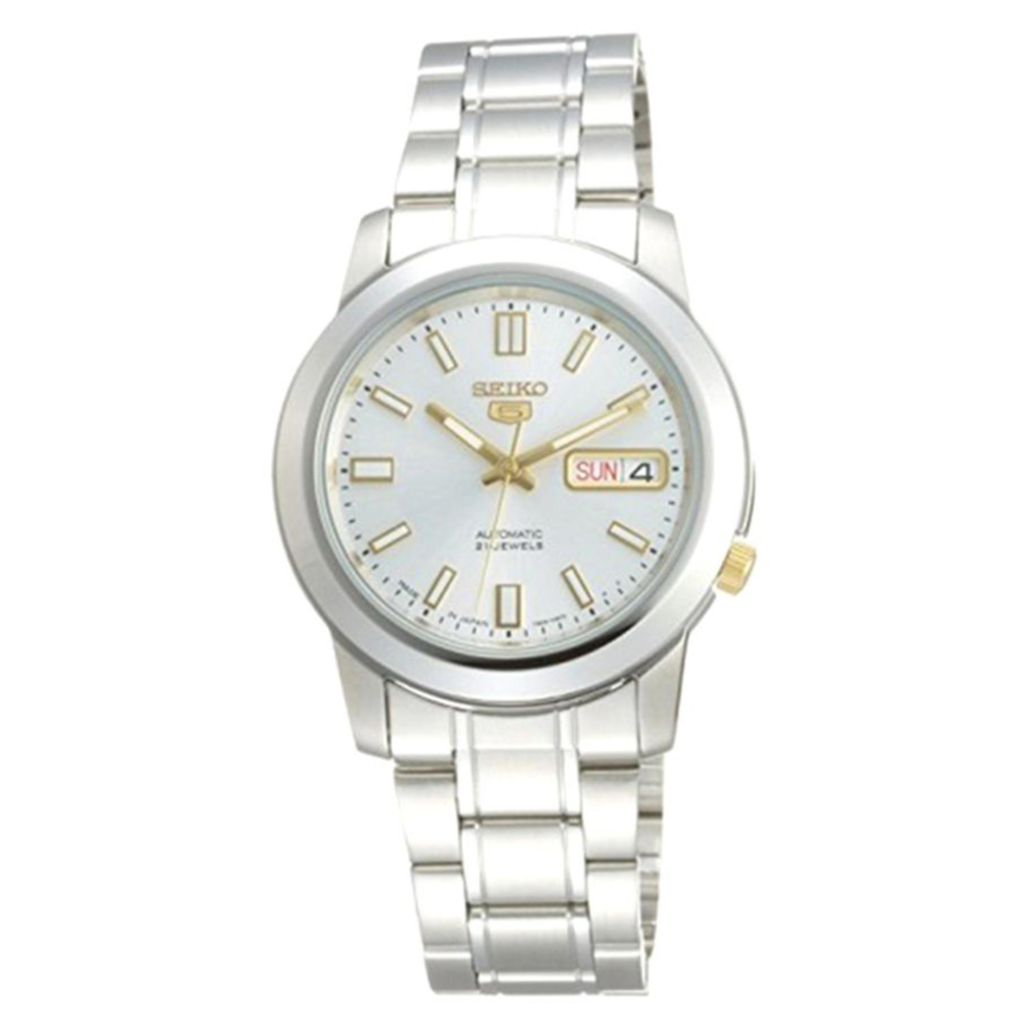 Seiko 5 Automatic White Dial Silver Stainless Steel Bracelet Men's Watch SNKK09K1 RRP £149