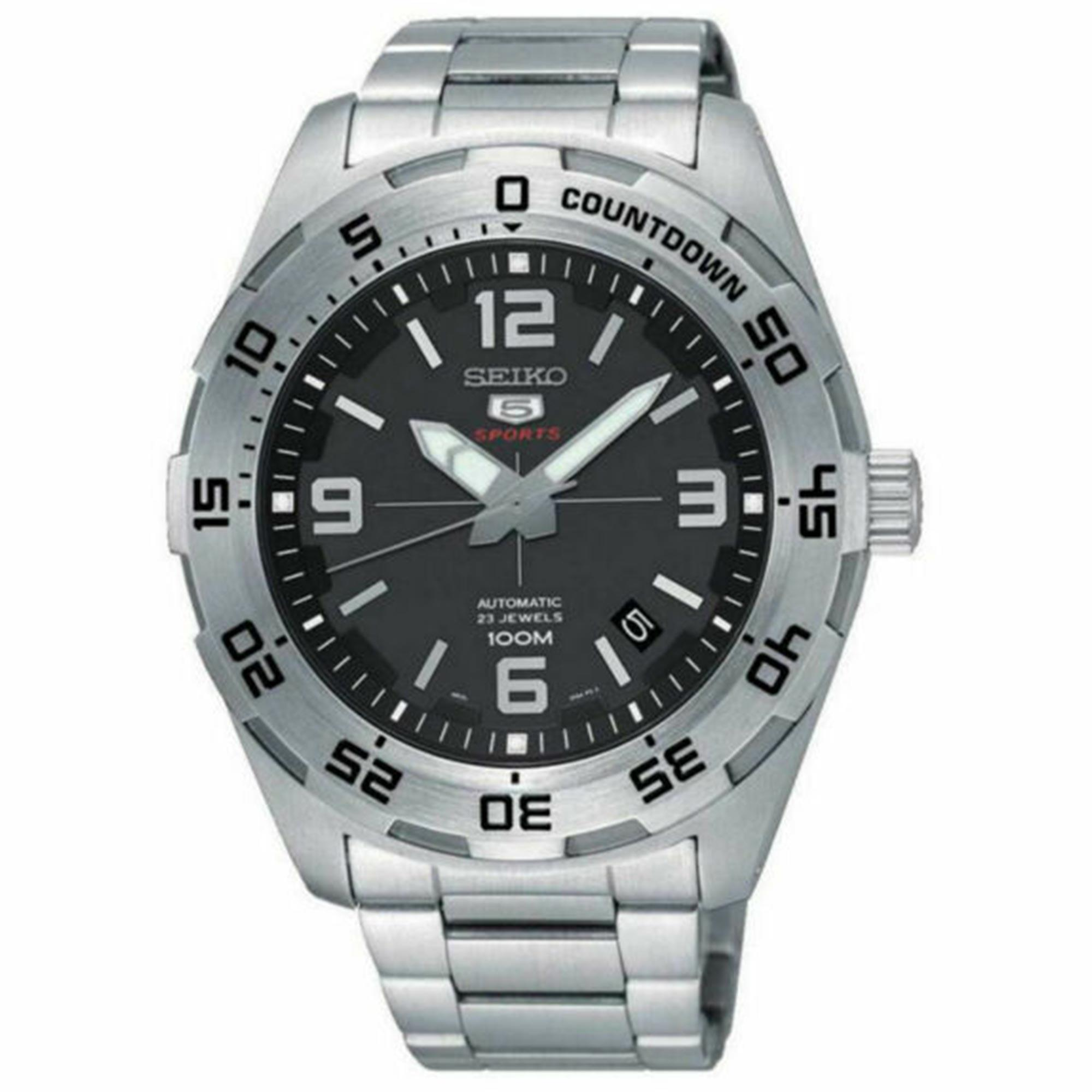 Seiko 5 Sports Automatic Black Dial Silver Stainless Steel Men's Watch SRPB79K1 RRP £250