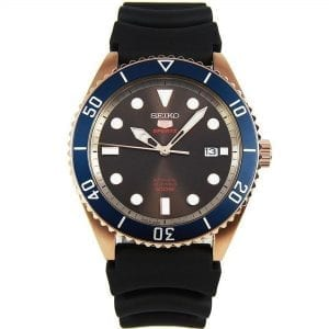 Seiko 5 Sports Automatic Brown Dial Black Silicone Strap Men's Watch SRPB96K1 RRP £199