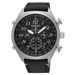 Seiko Prospex Radio Sync Solar Black Dial Leather Strap Chronograph Men's Watch SSG013P1 RRP £449