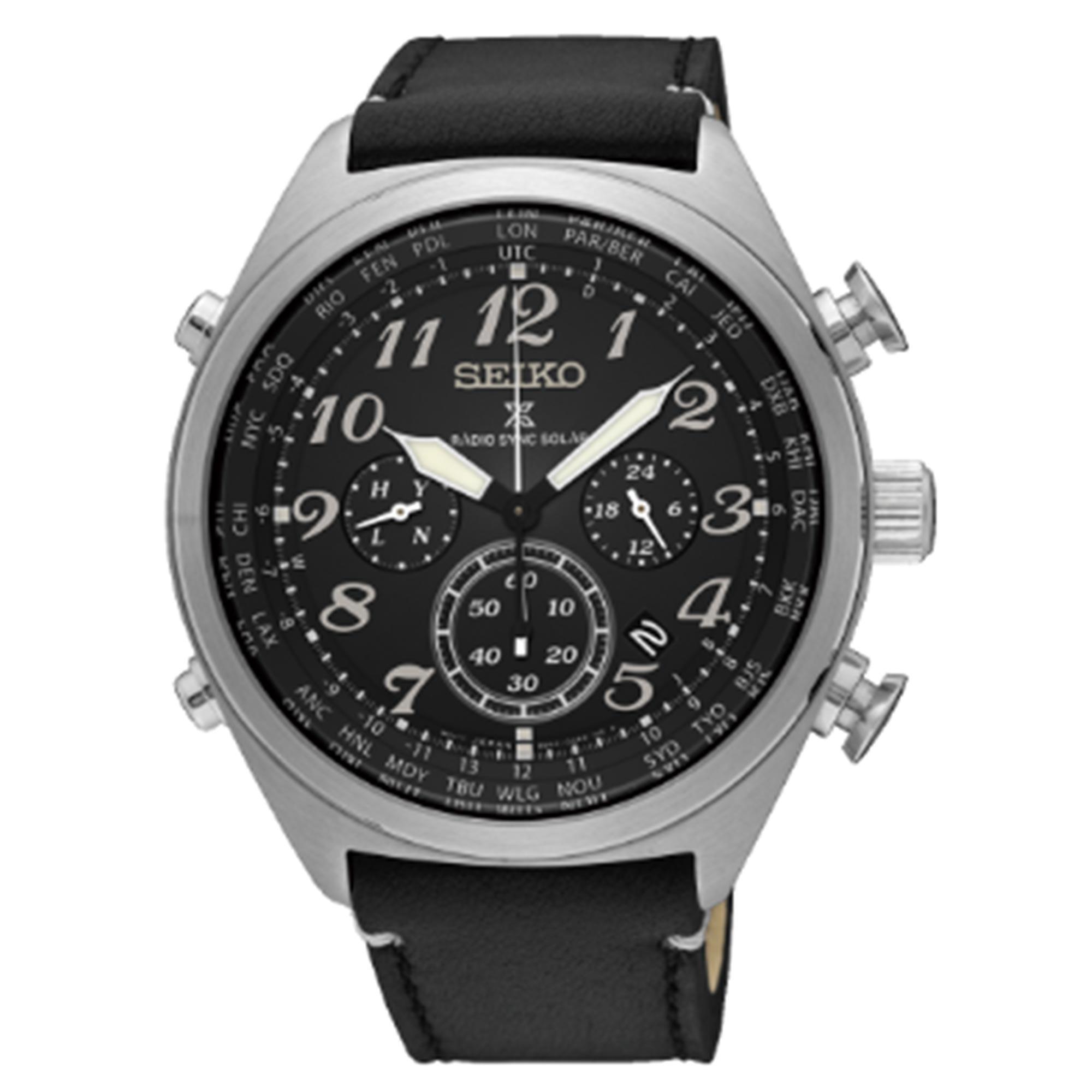 Seiko Prospex Radio Sync Solar Black Dial Leather Strap Chronograph Men's Watch SSG013P1 RRP £449