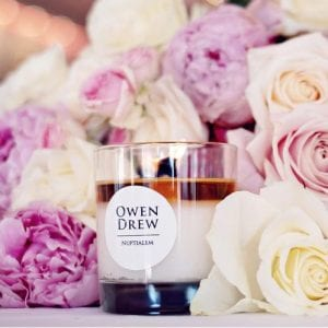 Owen Drew Luxury Home Bulgarian Rose Indian Jasmine Nuptialem Small Glass Jar CandleThisOwen Drew Rose Nuptialem Candle was inspired by the details of bride Meghan Markle's floral arrangement and bouquet was made public. With a candle based around a royal wedding the oils had to be luxurious with the combination of Bulgarian Rose and Indian Jasmin being two of the most expensive oils in the world. The candle is finished off with fragarances based around Meghan herself; her favourite flower peony and the American cedarwood.Key Features:40-45 Hour Burn Time100% Natural Soy WaxIndividually Hand Poured In England The Brand: Owen DrewOwen Drew Candes was created in the summer of 2016 after he noticed the damage that other candles were doing to his home. Drew, started making his own candles through blending essential oils and vegan soy wax. The unique feature of Owen's candles is that they use a natural wooden wick which crackle when they burn. He started by exhibiting his candles at craft fairs and soon after some positive feedback, various outlets approached Drew to stock his candles from across the globe. Owen Drew candles are about taking the time to treat yourself to something which is truly exceptional and madeto remember to pamper yourselfin an ever busier and more fast paced society.