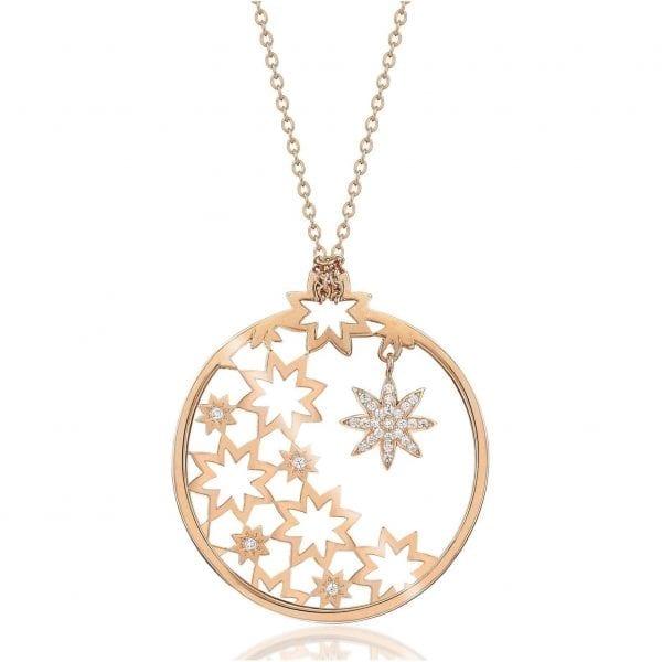 Vixi Jewellery Nova Rose Gold Small Round Pendant Necklace Ladies Jewellery NOVA.RPS.R £125
