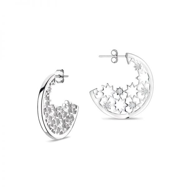 Vixi Jewellery Nova Silver Round Statement Earrings Ladies Jewellery NOVA-RE.W RRP £195