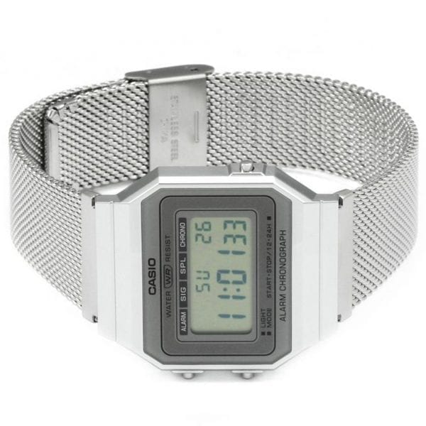 Casio Collection Quartz Digital LCD Dial Silver Mesh Stainless Steel Bracelet Watch A700WEM-7AEF RRP £44.90