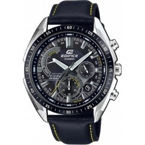 Casio Edifice Quartz Black Dial Leather Strap Chronograph Men's Watch EFR-570BL-1AVUEF RRP £129