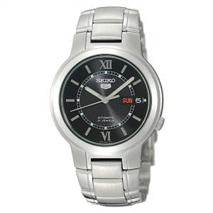 Seiko 5 Automatic Black Dial Silver Stainless Steel Men's Watch SNKA23K1