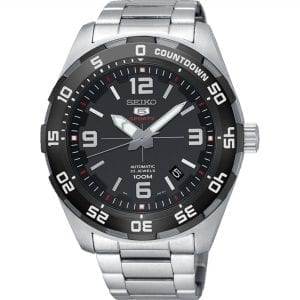 Seiko 5 Automatic Sports Silver Stainless Steel Mens Watch SRPB81K1 44mmDriven by a 23-jewel automatic movement, this Seiko 5 AutomaticSports Silver Stainless Steel Mens Watch (SRPB81K1) 44mm also features a date window and a sleek stainless steel bracelet and case. This timepiece comes complete withsome of the besttechnology, to go with its classic sleek style. In terms of wearability, the watch is resistant up to 100 meters whilst holding its own in the urban lifestyle of todays age.Key Features:100m Water ResistantAnalogue DisplayGrey DialDate Function5 Sports FamilyAutomatic MovementCaliber: 4R3523 JewelsHardlex CrystalBlack DialAnalog DisplayCountdown FunctionLuminous Hands & MarkersDate DisplayUni-Directional BezelPull/Push CrownSee Through Case BackDeployment Clasp100m Water ResistantCaliber: 4R35Black DialThe Family: Seiko 5The Seiko 5 family has set the standard in affordable, rugged and stylish watches since 1963. Designed to be simple but serious, the Seiko 5 is so-called due to its five key attributes: automatic winding, displaying the day and date in a single window, water resistance, a recessed crown at the 4 o'clock position and a durable metal bracelet. Released in order to meet the demands of the revolutionary baby-boomer generation, the Seiko 5 collection is just as popular to this day, proof that expert craftsmanship and elegant design will never go out of fashion.The Brand: SeikoSeiko's 135-year history has been marked by a ceaseless determination to innovate in every aspect of the watchmaker's art. By embracing this mantra, Seiko has been responsible for a string of industry-leading advances in the technology of time, such as the world's first quartz watch, the world's first TV watch, and the Seiko Kinetic, the first watch ever to generate its own electricity from the movement of the wearer. Seiko are unique in that they manufacture every aspect of every watch in-house, with this ruthless pursuit of perfection even including growing their own qu
