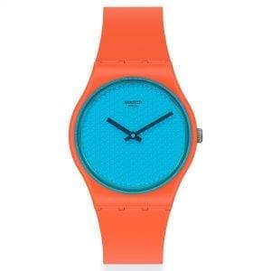 Swatch Urban Blue Quartz Blue Dial Orange Silicone Strap Watch GO121 RRP £54