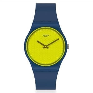 Swatch YellowPusher Quartz Yellow Dial Blue Silicone Strap Watch GN266 RRP £54