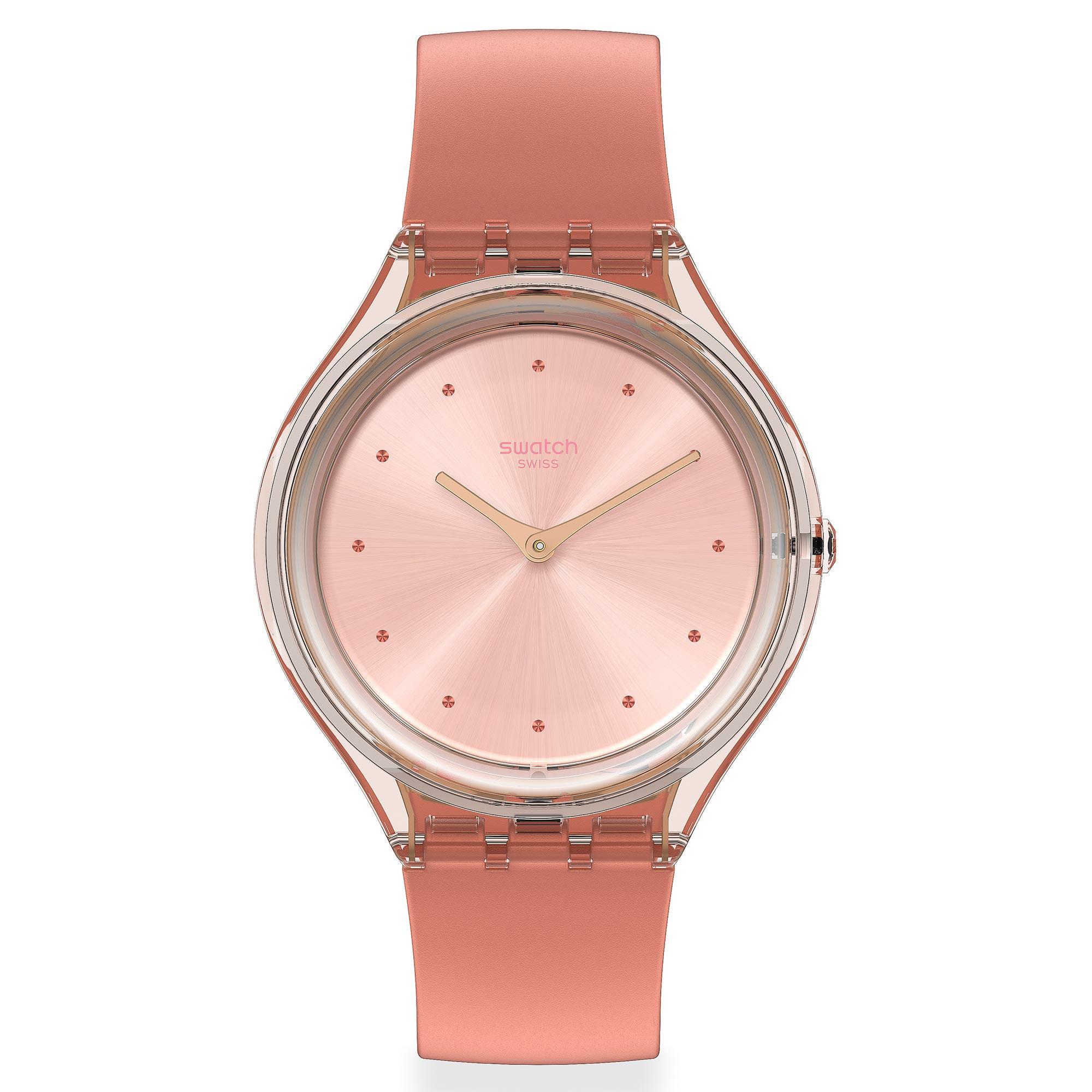 Swatch Skin Amor Quartz Pink Dial Silicone Strap Ladies Watch SVOK108 RRP £85