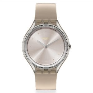 Swatch Skin Cloud Quartz Silver Dial Brown Silicone Strap Men's Watch SVOK109 RRP £85