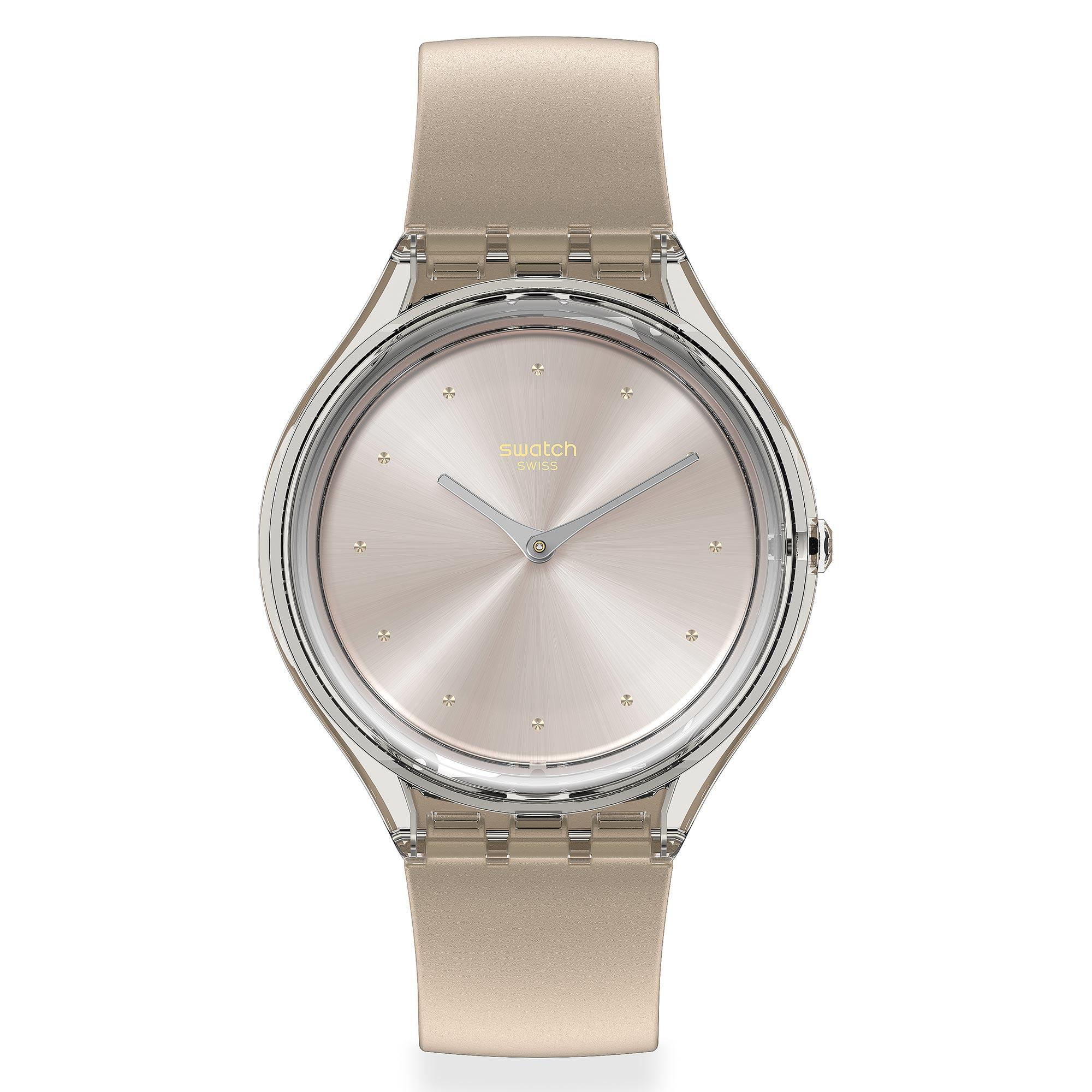 Swatch Skin Cloud Quartz Silver Dial Brown Silicone Strap Men's Watch SVOK109 RRP £85