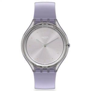 Swatch Skin Love Quartz Silver Dial Purple Silicone Strap Ladies Watch SVOK110 RRP £85