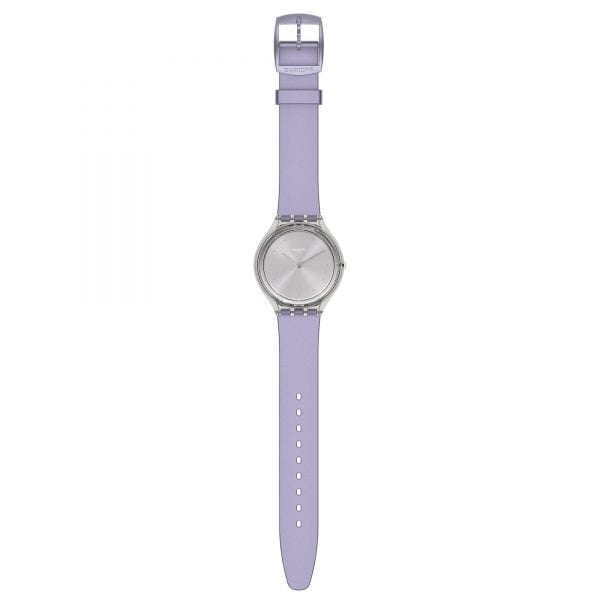 Swatch Skin Love Quartz Silver Dial Purple Silicone Strap Ladies Watch SVOK110 RRP £85