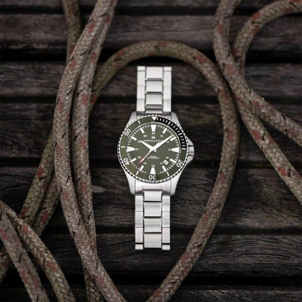Hamilton Khaki Navy Scuba Automatic Green Dial Silver Stainless Steel Bracelet Men's Watch H82375161 RRP £695