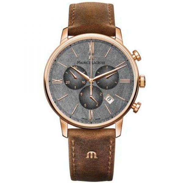 Maurice LaCroix Eliros Quartz Grey Dial Brown Leather Strap Watch EL1098-PVP01-210-1 RRP £775