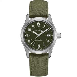 "Hamilton Khaki Green Field Officer Mechanical Mens Watch H69439363 38mmThis Hamilton Khaki Green Field Officer Mechanical Mens Watch H69439363 38mm offers simplicity at its best. Notably, it features a dark green dial, which is complimented by silver coloured Arabic indexes. Also the dial features both a 12 and 24 hour display to suit the needs of both. Situated underneath the 12 o'clock position is the ever present Hamilton logo. The 3 o'clock index is replaced by a simplistic date window. Moreover the standout feature on the dial, are the silver coloured hand.They are powered by a precise Swiss H-50 caliber mechanical movement. Likewise the dial consists of a silver stainless steel case and sapphire crystal glass. This is all underpinned by a khaki green textile strap is then fastened using a standard buckle. This watch has a water resistance of 50 metres, making it suitable for surface swimming.Key Features:Green DialSilver Stainless Steel CaseGreen Textile StrapMechanical MovementSwiss Movement12/24 Hour DisplayDate WindowH-50 CaliberSapphire Crystal50m Water ResistantStitched StrapThe Family: Khaki FieldThis watch is rugged and ready for the outdoors, the Hamilton Khaki Field collection combines easy-to-red dials with bold styling. Additionally, the watch are also boasts plenty of great features. Such as chronographs, day and date indicators and titanium case construction, meaning that this rugged appeal doesn't come at the expense of quality watchmaking.The Khaki Field range pays homage to the Hamilton watches used by the United States military in 1910.Also, the Khaki Field watch features on big screen pictures. With notable appearances including Liam Neeson in the crime thriller, A Walk Among The Tombstones.The Brand: HamiltonSince its foundation in 1892, Hamilton Watch Company have developed a reputation for being a provider of accurate timekeeping. Hence they earned the title of ""The Watch of Railroad Accuracy"", as a result of their highly accurate pocket watches.Hamilton earned a place in history, as they found themselves suppliers of watches to the US military in both world wars.The US Naval Lab invited the Hamilton Watch Company to create an American made chrono. There was a shortage of chronos available to the US Government during the First World War.Therefore they had to rely solely on European made pieces.For this reason Hamilton agreed in 1941 to undertake the work. Moreover, by 1944 Hamilton had produced more than 10,000 Chronometers in aid of the American War effort.Hamilton have developed a close relationship over the years with Hollywood. Hamilton watches have featured in over 450 films, beginning in 1951 with the Frogman watch. Other films include: Elvis Presley in 1961's 'Blue Hawaii' and in '2001: A Space Odyssey'. Furthermore, Hamilton have featured films such as 'Interstellar' and 'The Martian'.In 2003 Hamilton moved their headquarters to a facility in Switzerland. They are still a global force within the timepiece industry, this is because Hamilton watches offer a combination of American heritage, Swiss internal workings and a touch of Hollywood flair.If you have any questions please click hereClick here to join our facebookand Instagram!"