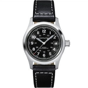 Hamilton Khaki Field Automatic Black Dial Leather Strap Men's Watch H70455733 RRP £465