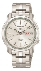 Seiko 5 Automatic White Dial Silver Stainless Steel Men's WatchThis Seiko 5 Automatic Silver Stainless Steel Men's Watch is a classic addition to the Seiko 5 collection. Firstly, a white dial has silver indexes and hands of which are powered by a 7S26 21 jewel automatic movement. Secondly, the Seiko 5 logo appears just below the 12 o'clock index with a day and date window seen at the 3 o'clock position. A silver stainless steel case surrounds the white dial with hardlex crystal glass sat on-top. A silver stainless steel bracelet can then be fastened using a deployment clasp.Finally, this watch has a water resistance of 30 metres, making it suitable for light splashes.Key Features:Stainless Steel Case/BraceletCaliber 7S2621 JewelsAutomatic MovementHardlex CrystalSilver DialDay/Date FunctionAnalog DisplayPush Button Double Fold Clasp30m Water ResistantThe Family:The Seiko 5 family has set the standard in affordable, rugged and stylish watches since 1963. They incorporate simplicity, but seriousness. The name of the Seiko 5 derives from its five key attributes, which Seiko promised to include in every watch that belonged to the family. They are: automatic winding, displaying the day and date in a single window, water resistance, a recessed crown at the 4 o'clock position and a durable metal bracelet.1963 marked the year that the Seiko 5 acted as a catalyst in the horological revolution in automatic watchmaking. Even after being in the market for over 50 years, albeit the Seiko 5 still remains as cool and relevant as ever. Though this serves as proof that expert craftsmanship and elegant design will never go out of fashion.The Brand: SeikoCeaseless determination to innovate in every aspect of the watchmaker's art is what defines Seiko's 135-year history. By embracing this ethos, Seiko has been responsible for a string of industry-leading advances in the technology of time. Notably, the creation of the world's first quartz watch in 1969. Or equally impressive the creatio