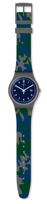 Swatch Core Refresh Camougreen Blue Camouflage Quartz Men's Watch SUOM400 41mmThisSwatch Core Refresh Camougreen Blue Camouflage Quartz Men's Watch SUOM400 41mm blends a stylish look with a classic camo green. The blue dial is complimented by white indexes and hands, of which are powered by a quartz movement. Furthermore, a simplistic date window sits at the 3 o'clock position. Surrounding the dial is agrey plastic case and glass to protect the dial. Finally, agreen and blue camo print silicone strap is fastened using a standard buckle.This watch has a water resistance of 30 metres, making it suitable for light splashes.Key Features:Core Refresh CollectionBlue DialGreen BlueCamo Silicone StrapGrey Plastic CaseStandard Buckle30m Water ResistantQuartz MovementDate WindowThe Family: Core RefreshThe family is part of the new 2019 Autumn and Winter collection. The collection takes the style from some of Swatch's most known pieces and adds a refreshing twist to them.The Brand: SwatchSwatch watches are globally-renowned for their trademark combination of quality Swiss watchmaking, pioneering use of plastic cases and straps, and eye-catching designs. There is a Swatch watch to suit every age, taste and lifestyle, with this variety and sense of difference ensuring that Swatch watches remain some of the most popular and sought after currently manufactured.