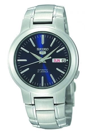 Seiko 5 Automatic Blue Dial Stainless Steel Mens Watch SNKA05K1 37mmDriven by a 21-jewel automatic movement, this Seiko 5Automatic Blue Dial Stainless Steel Mens Watch SNKA05K1 37mm has a sleek silver stainless steel bracelet and case complimented by a blue dial. In terms of the dial itself, the classic Seiko 5 Logo sits just below the 12 o'clock index with a day and date display sitting in place of the 3 o'clock position. Silver stainless steel indexes and batons are powered by an automatic movement. To equip this masterpiece, a fold over clasp is fastened to sit around ones wrist.Key Features:Exclusive 7S26 CalibreAutomatic Movement21 JewelsDay Date WindowSeiko 5 LogoSilver Stainless Steel CaseSilver Stainless Steel BraceletMineral Crystal GlassBlue Dial30m Water ResistantFold Over ClaspSee Through Case BackLuminous MarkersDress StyleFixed BezelThe Family: Seiko 5The Seiko 5 family has set the standard in affordable, rugged and stylish watches since 1963. Designed to be simple but serious, the Seiko 5 is so-called due to its five key attributes: automatic winding, displaying the day and date in a single window, water resistance, a recessed crown at the 4 o'clock position and a durable metal bracelet. Released in order to meet the demands of the revolutionary baby-boomer generation, the Seiko 5 collection is just as popular to this day, proof that expert craftsmanship and elegant design will never go out of fashion.The Brand: SeikoSeiko's 135-year history has been marked by a ceaseless determination to innovate in every aspect of the watchmaker's art. By embracing this mantra, Seiko has been responsible for a string of industry-leading advances in the technology of time, such as the world's first quartz watch, the world's first TV watch, and the Seiko Kinetic, the first watch ever to generate its own electricity from the movement of the wearer. Seiko are unique in that they manufacture every aspect of every watch in-house, with this ruthless pursuit of perfection e