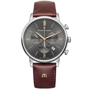 """Maurice LaCroix Eliros Chronograph Leather Strap Men's Watch EL1098-SS001-311-1ThisMaurice LaCroix Eliros Chronograph Leather Strap Men's Watch EL1098-SS001-311-1 brings a calm and relaxing addition to your wrist. A grey brushed dial is complimented by golden indexes and hands, of which are powered by a quartz movement.The dial features three chronographs of which are accurate up to 1/10th of a second. Furthermore, at the 12 o'clock position is the premium Maurice LaCroix logo with a simplistic date window inbetween the four and five o'clock position. Surrounding the dial is a polished silver stainless steel case to provide it with the protection it deserves. Finally, a brown leather strap can be fastened using a pink buckle to sit comfortably around ones wrist.This watch has a water resistance of 50 metres, making it suitable for surface swimming.Key Features:Eliros FamilyChronographBrown Leather Strap40mm CaseDate WindowGrey Sunbrushed DialSilver Stainless Steel Case50m Water ResistantPin BuckleQuartz MovementThe Family: ElirosRecently relaunched, the Maurice Lacroix Eliros family imposes a much more modern aesthetic on a classic design. Fitted with a high-quality Swiss quartz movement and complete with the unmistakable brand signature """"M"""" logo on the strap, the Eliros collection is finished to a standard usually only found on more expensive Maurice Lacroix timepieces, meaning that these watches are not only alluringly styled but attractively priced.The Brand: Maurice LacroixHaving only been founded in 1975 as part of Desco von Schulthess of Zurich, Maurice Lacroix has enjoyed a rapid ascension to the pinnacle of Swiss watchmaking, picking up scores of awards and patents in the process. As a result, each Maurice Lacroix timepiece is an expert blend of tradition, creative development and cutting-edge technology, meaning that every watch that leaves their state-of-the-art workshop in Mountfacon is perfect in form as well as function. Now capable of producing fourtee"""