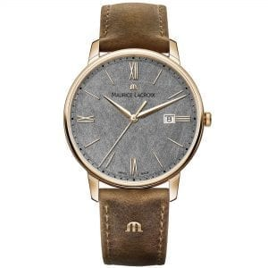 "Maurice LaCroix Eliros Brown Leather Strap Grey Dial Men's Watch EL1118-PVP01-210-1 This Maurice LaCroix Eliros Brown Leather Strap Grey Dial Men's Watch EL1118-PVP01-210-1 brings a calm and relaxing addition to your wrist. A grey hand brushed dial is complimented by golden indexes and hands, of which are powered by a quartz movement. Furthermore, at the 12 o'clock position is the premium Maurice LaCroix logo with a simplistic date window sat adjacent to the 3 o'clock index. Surrounding the dial is a polished gold PVD stainless steel case to provide it with the protection it deserves. Finally, a brown leather strap can be fastened using a pin buckle to sit comfortably around ones wrist.  This watch has a water resistance of 50 metres, making it suitable for surface swimming. Key Features:Eliros FamilyQuartz MovementBrown Leather Strap40mm CaseDate WindowGrey Hand-Brushed DialGold PVD Stainless Steel Case50m Water ResistantPin Buckle The Family: ElirosRecently relaunched, the Maurice Lacroix Eliros family imposes a much more modern aesthetic on a classic design. Fitted with a high-quality Swiss quartz movement and complete with the unmistakable brand signature ""M"" logo on the strap, the Eliros collection is finished to a standard usually only found on more expensive Maurice Lacroix timepieces, meaning that these watches are not only alluringly styled but attractively priced. The Brand: Maurice LacroixHaving only been founded in 1975 as part of Desco von Schulthess of Zurich, Maurice Lacroix has enjoyed a rapid ascension to the pinnacle of Swiss watchmaking, picking up scores of awards and patents in the process. As a result, each Maurice Lacroix timepiece is an expert blend of tradition, creative development and cutting-edge technology, meaning that every watch that leaves their state-of-the-art workshop in Mountfacon is perfect in form as well as function. Now capable of producing fourteen unique and innovative movements, many of which are painstakingly finished by hand, Maurice Lacroix has collaborated with people as diverse as Wikipedia founder Jimmy Wales, golfer Justin Rose and musician Bob Geldof, and is also the official watch partner of FC Barcelona and the Red Bull Cliff Diving World Series."